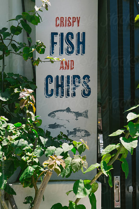 Vintage Fish and Chips Sign by Rowena Naylor for Stocksy United