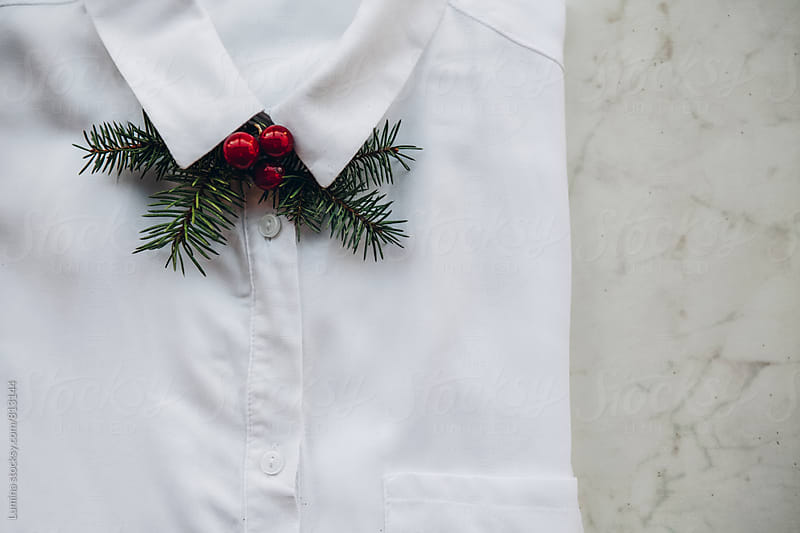 White Shirt With a Christmas Bow Tie by Lumina for Stocksy United