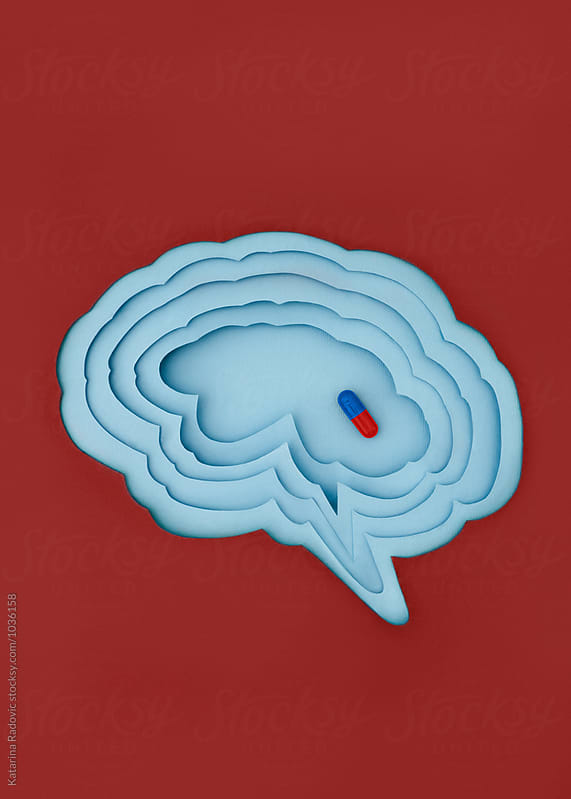 Paper Brain and Pill Inside of It by Katarina Radovic for Stocksy United