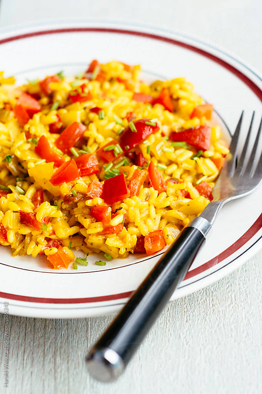 Red Bell Pepper Risotto by Harald Walker for Stocksy United