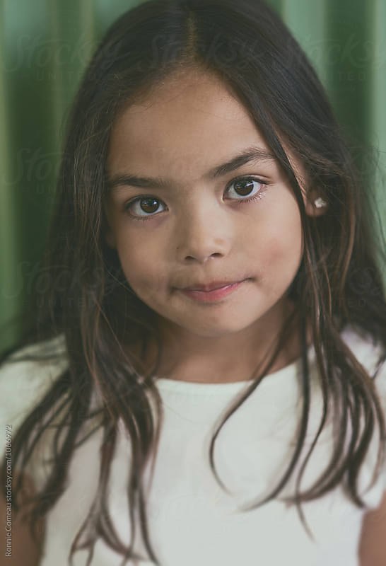 Closeup Portrait of Cute Little Girl by Ronnie Comeau for Stocksy United