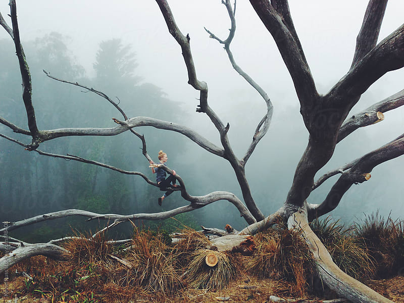 Woman on Fallen Tree by Kevin Russ for Stocksy United