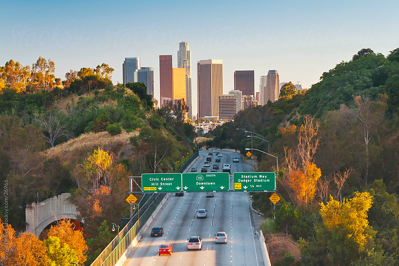 Pasadena Freeway (CA Highway 110) Leading to Downtown Los Angeles, California, United States of America by Gavin Hellier for Stocksy United