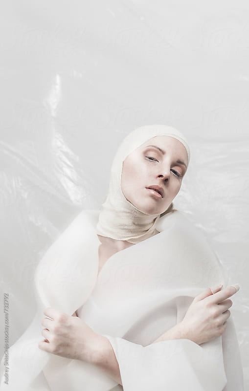 Abstract minimalist fashion portrait of beautiful blond female. by Marko Milanovic for Stocksy United