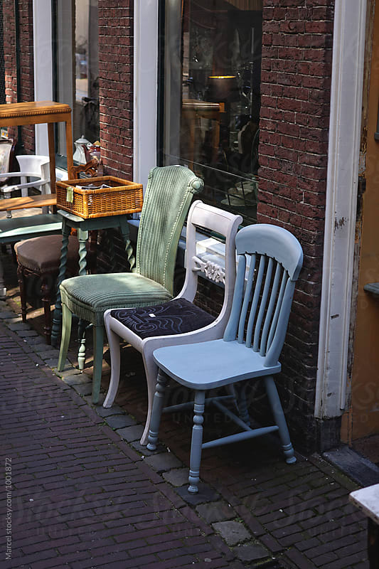 Vintage furniture for sale on the street by Marcel for Stocksy United