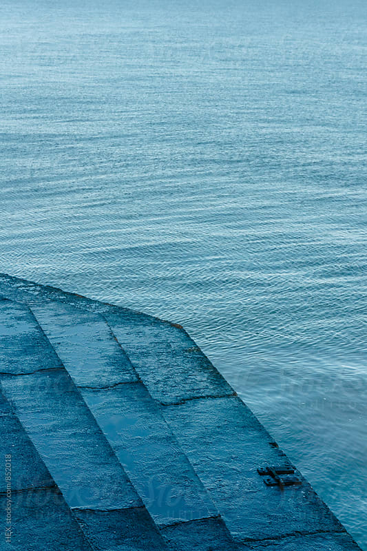 Staircase beside the Blue Ocean by HEX . for Stocksy United