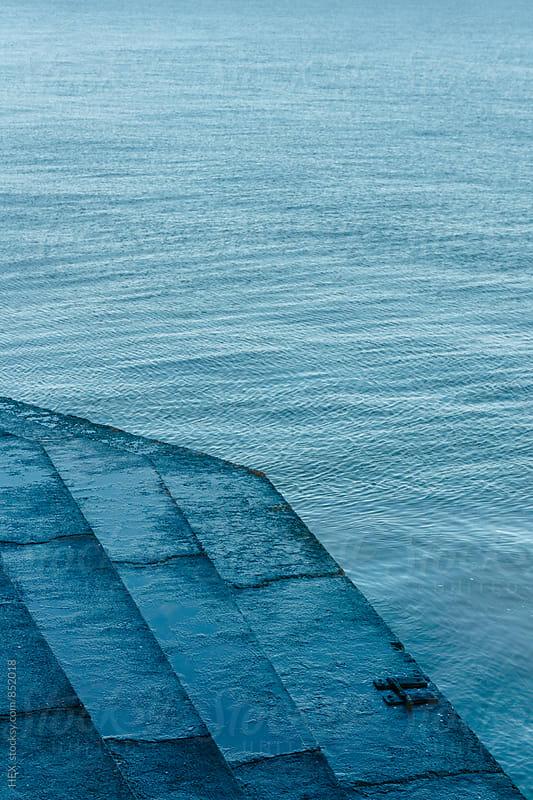 Staircase beside the Blue Ocean by Mattia Pelizzari for Stocksy United