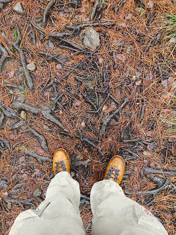 View of the hiker's shoes in the woods by Brkati Krokodil for Stocksy United