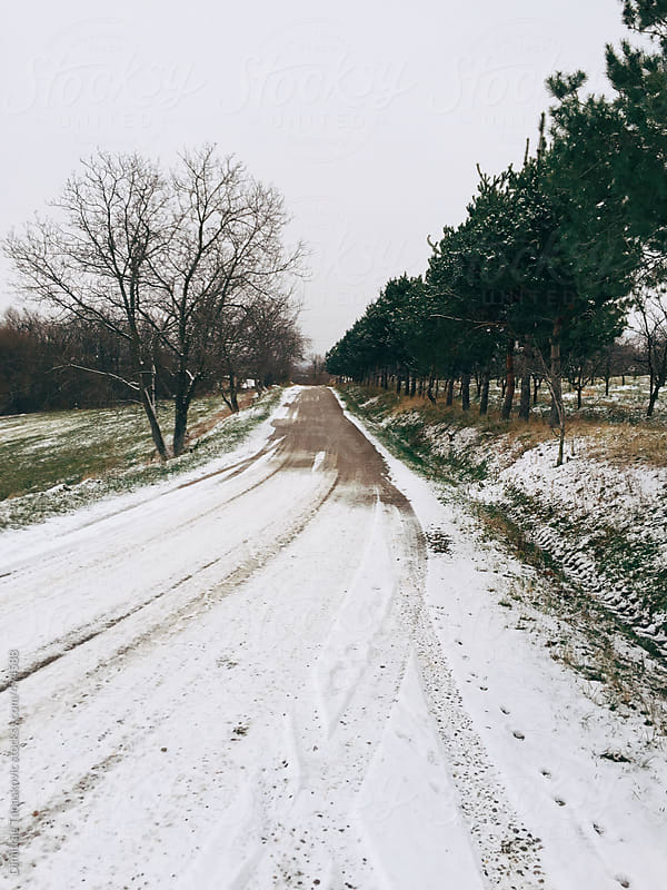 Countryside road in the winter by Dimitrije Tanaskovic for Stocksy United