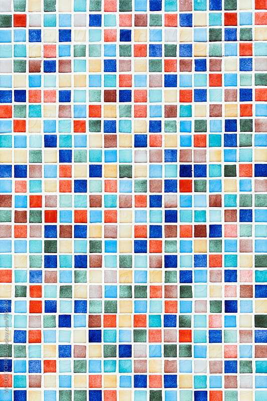 Colorful Square Tiles Background by Victor Torres for Stocksy United