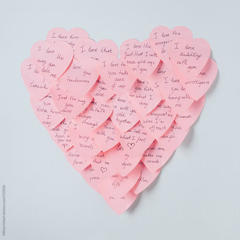 Sticky notes heart by Milena Milani for Stocksy United