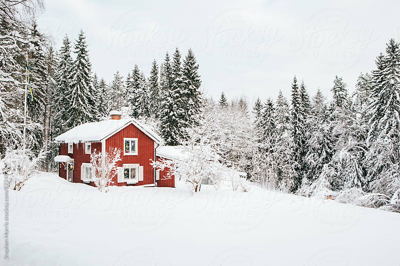 Red Cottage in Snowy  Swedish Landscape by Stephen Morris for Stocksy United