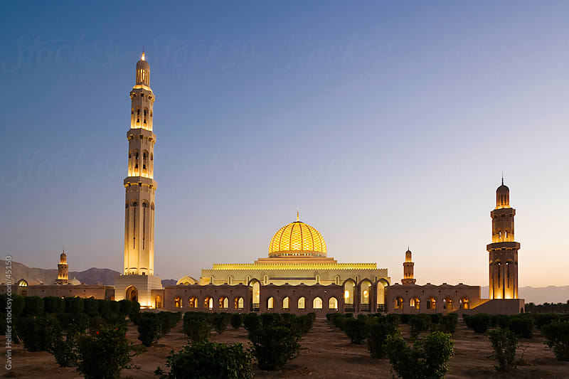 Middle East, Oman, Muscat, Al-Ghubrah or Sultan Qaboos Grand Mosque by Gavin Hellier for Stocksy United