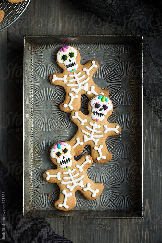 Day of the Dead gingerbread men by Ruth Black for Stocksy United