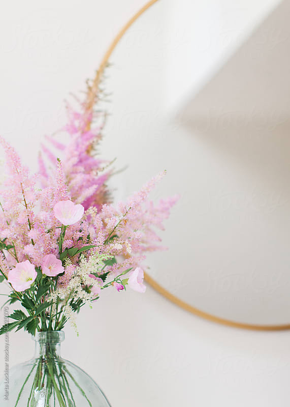 Pink Astilbe and Primrose Bouquet Arrangement by Marta Locklear for Stocksy United