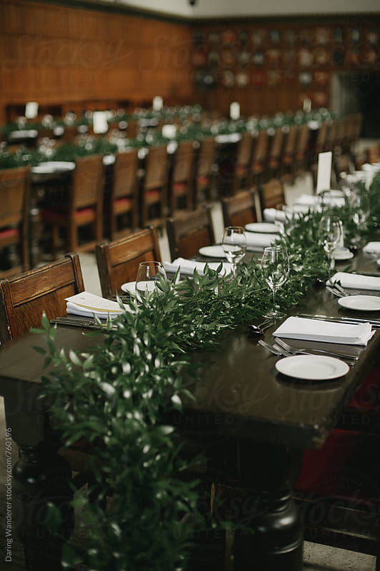 Long harvest tables for dinner party wedding reception with simple wood tables and vine garland by Daring Wanderer for Stocksy United