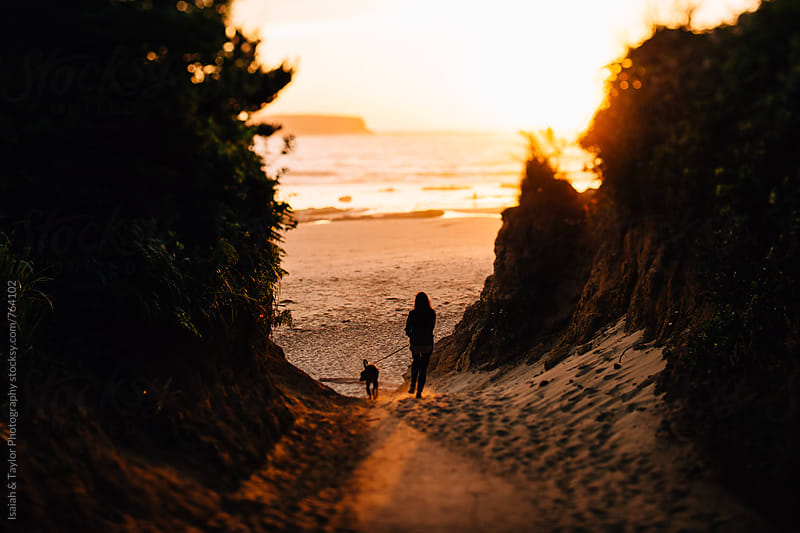 Human walking with dog to beach by Isaiah & Taylor Photography for Stocksy United
