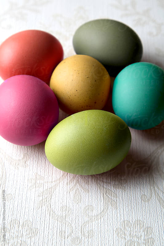 colored easter eggs by Sonja Lekovic for Stocksy United