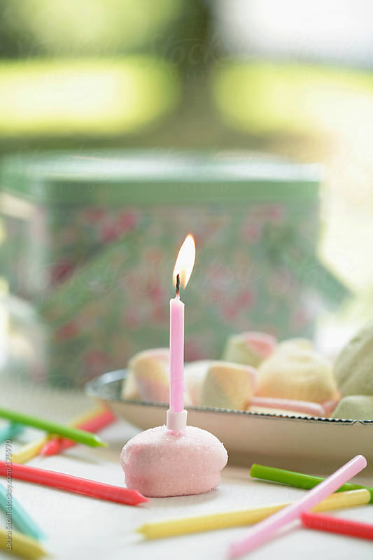 Pink birthday candle on marshmallow during garden party by Laura Stolfi for Stocksy United