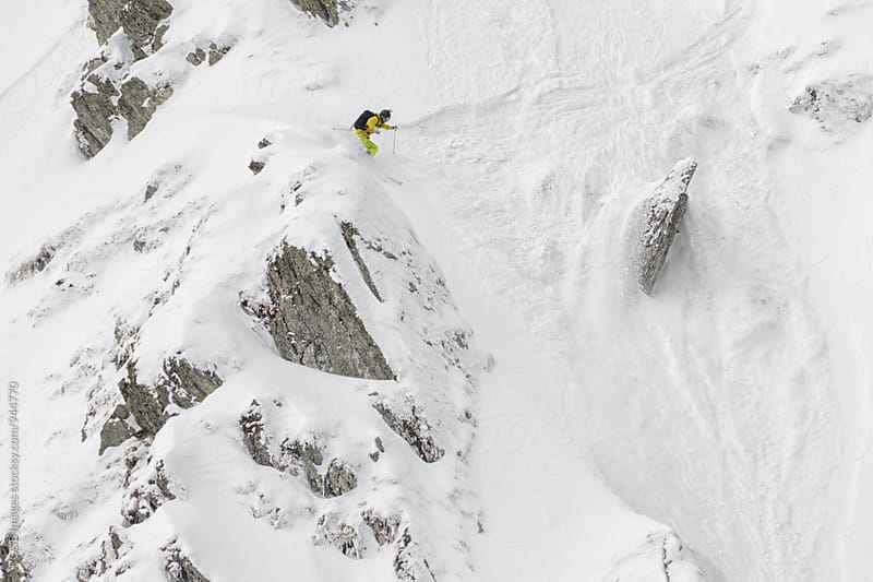 Fearless skier on a snow couloir by RG&B Images for Stocksy United