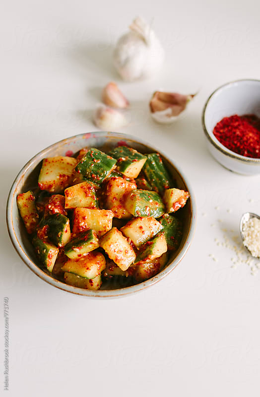 Cucumber Kimchi by Helen Rushbrook for Stocksy United