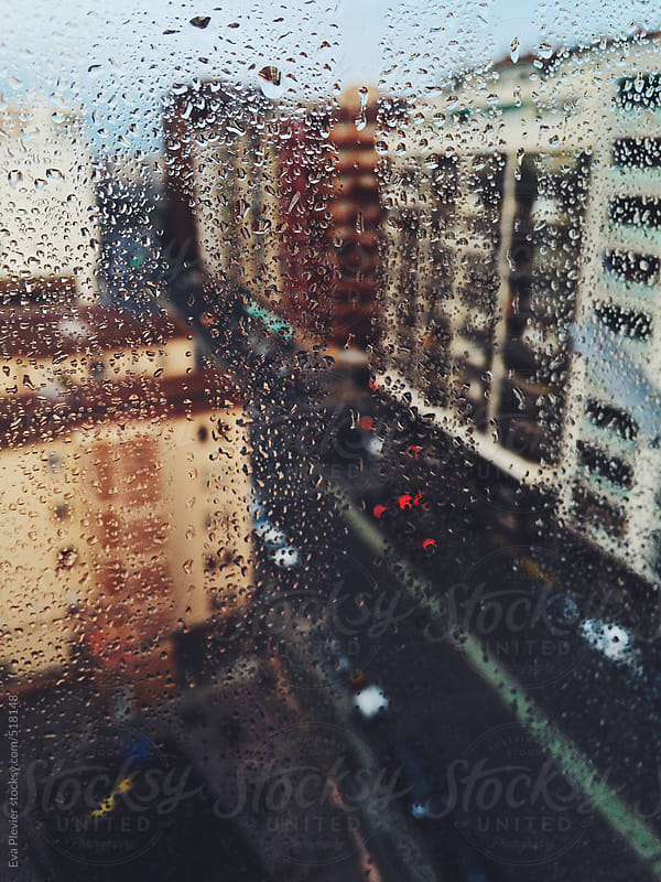 Raindrops on the window. by Eva Plevier for Stocksy United