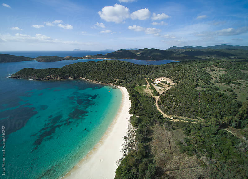Aerial view of south Sardinian coast, Tuerredda beach by Luca Pierro for Stocksy United