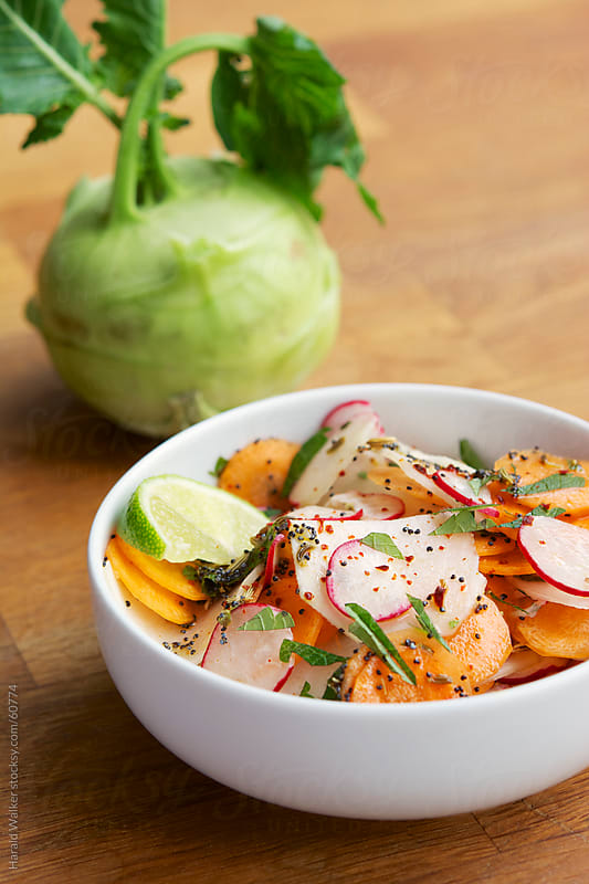 Crunchy Kohlrabi, Carrot and Radish Salad by Harald Walker for Stocksy United