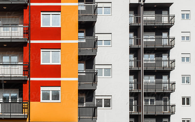 Buildings Facade in housing blocks in perspective. by Audrey Shtecinjo for Stocksy United