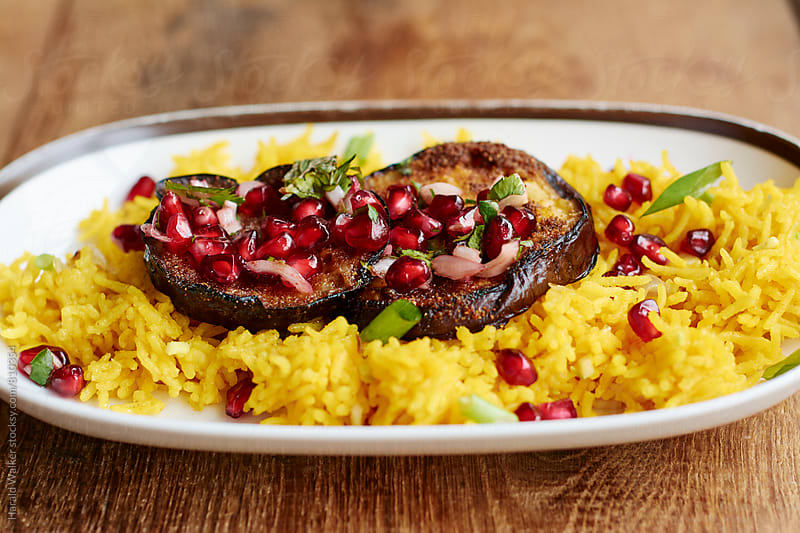 Eggplant with Pomegranate Salsa by Harald Walker for Stocksy United