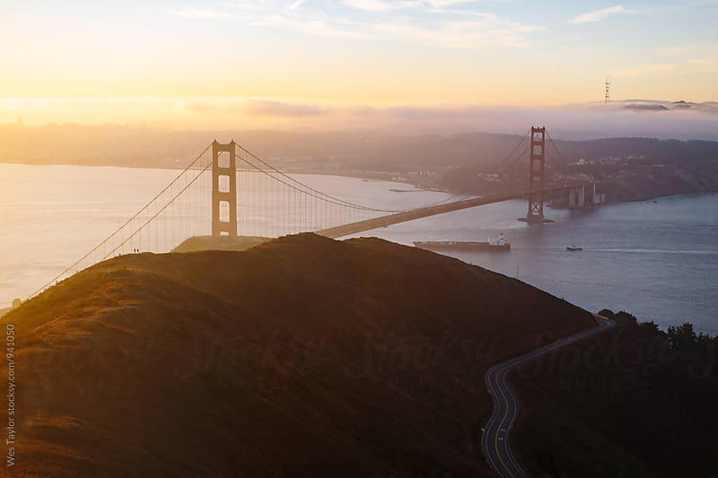 Golden Gate Bridge at Sunrise by Wes Taylor for Stocksy United