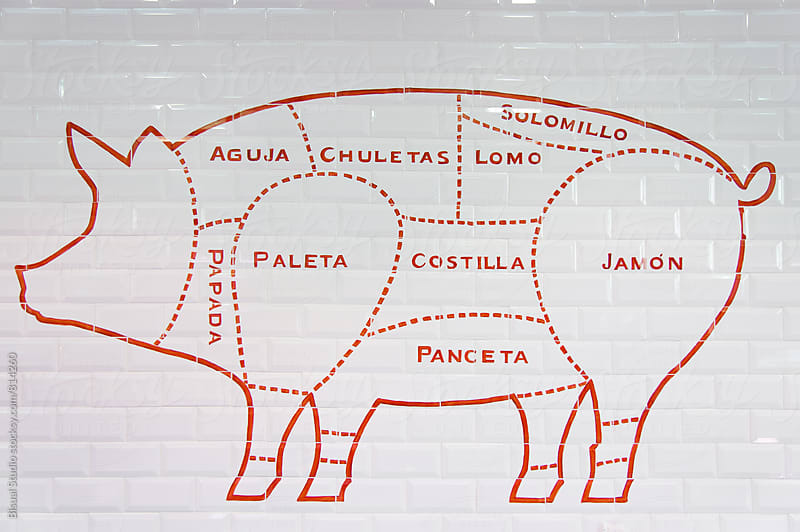 Parts of pork painted on a wall by Bisual Studio for Stocksy United