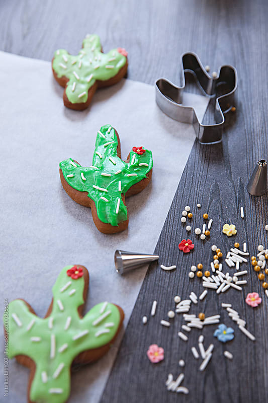 Home made gingerbread cookies in the shape of a cactus by Natalie JEFFCOTT for Stocksy United