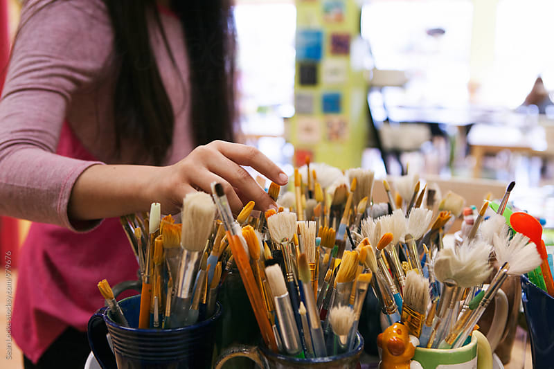 stock photo: picking a paintbrush