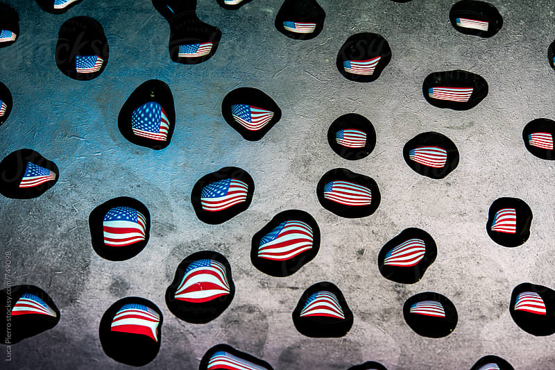U.S.A. flag in raindrops by Luca Pierro for Stocksy United