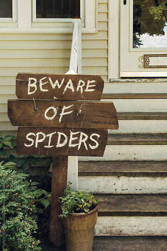 Beware of Spiders sign by a house by Gabriel (Gabi) Bucataru for Stocksy United