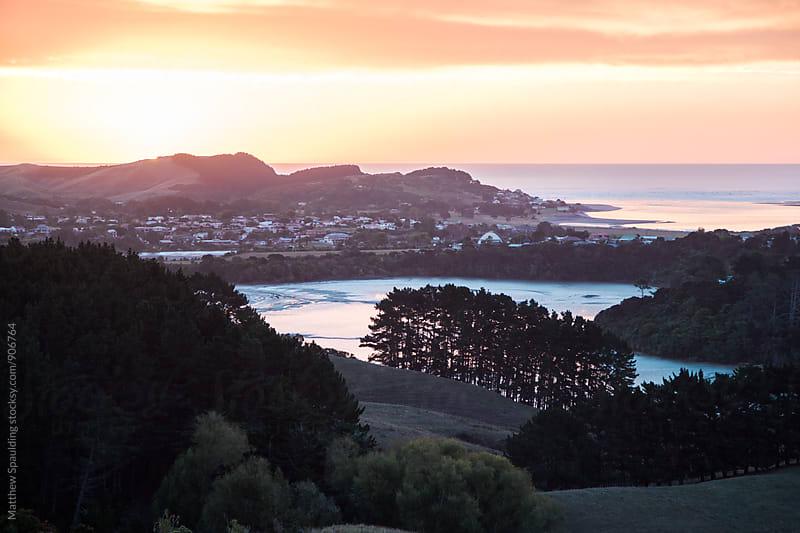 View of New Zealand coastal landscape in Raglan by Matthew Spaulding for Stocksy United