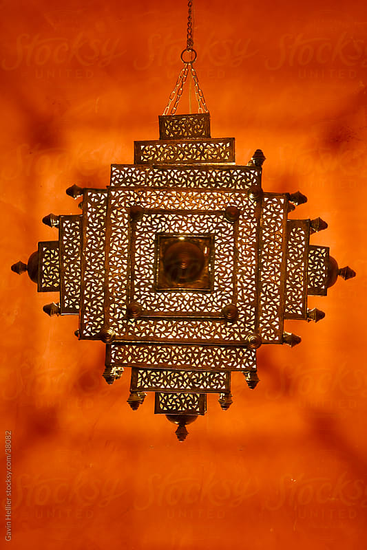 Qatar, Middle East, Arabian Peninsula, Doha, detail of a traditional Arabian light in the restored Souq Waqif by Gavin Hellier for Stocksy United