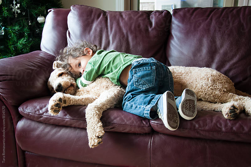 young child loves on his dog by Tara Romasanta for Stocksy United
