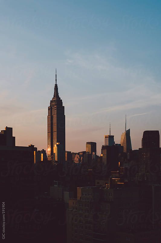 Sunset on the Empire State Building in New York City by GIC for Stocksy United