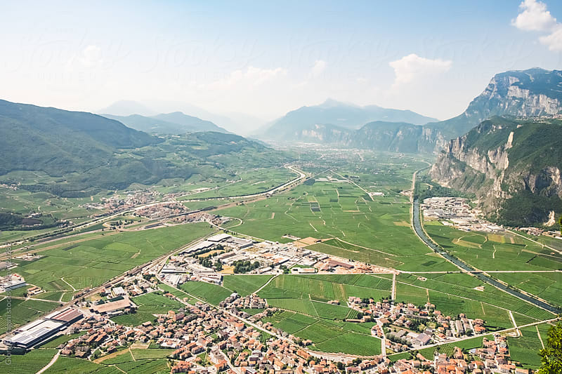 Settlements and Cultivated Land in a Valley of Trentino, North Italy by Giorgio Magini for Stocksy United