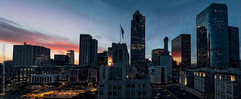 Panorama photo of the city of LA by dusk by Beatrix Boros for Stocksy United