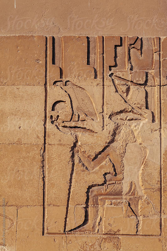 Ancient Egyptian wall carvings on a tomb outside of Cairo by Shelly Perry for Stocksy United