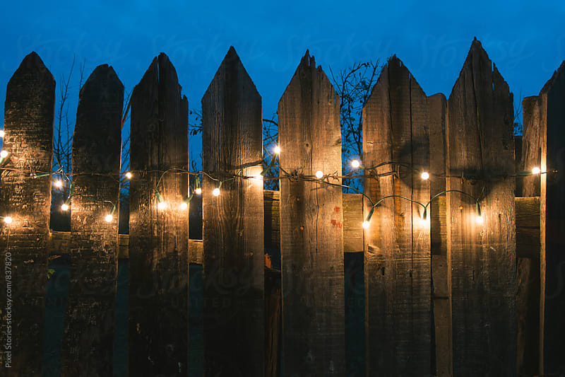 Christmas lights on old wooden fence by Pixel Stories for Stocksy United