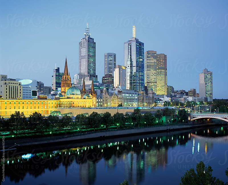 The city skyline from Southgate, Melbourne, Victoria, Australia by Gavin Hellier for Stocksy United