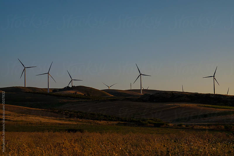 Countryside Landscape with Wind Turbines by Aleksandra Jankovic for Stocksy United