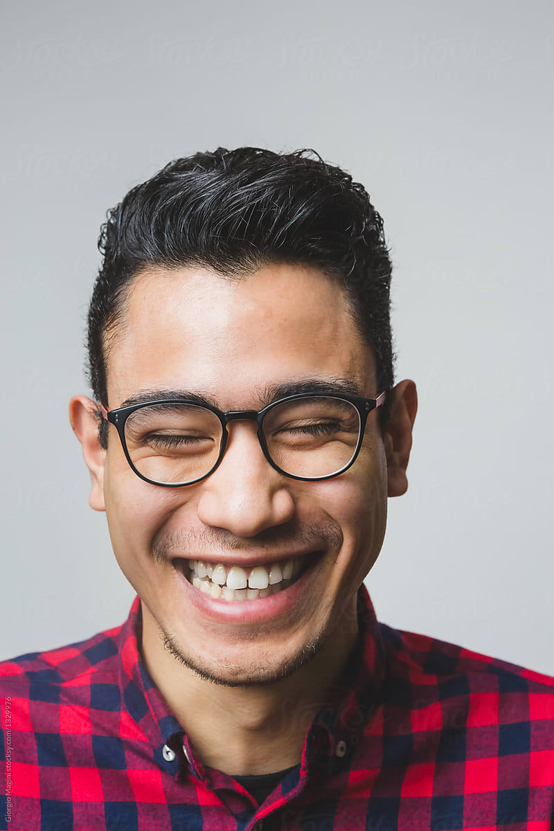 27cfbd5f555 Candid Smiling Portrait Of A Mixed Race Young Man