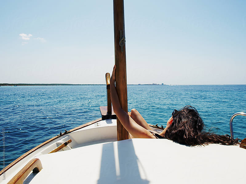 Relaxing view from a boat in the Mediterranean sea by Lucas Ottone for Stocksy United