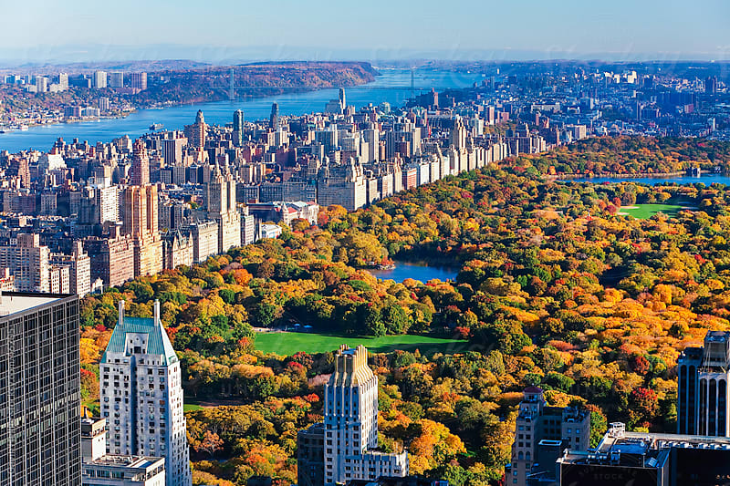 View over Central Park and the Upper West Side skyline, Manhattan, New York City, New York, USA by Gavin Hellier for Stocksy United