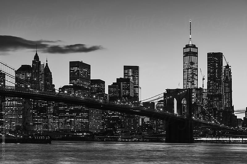Manhattan Skyline & Brooklyn Bridge from Dumbo Park, Brooklyn by Victor Torres for Stocksy United